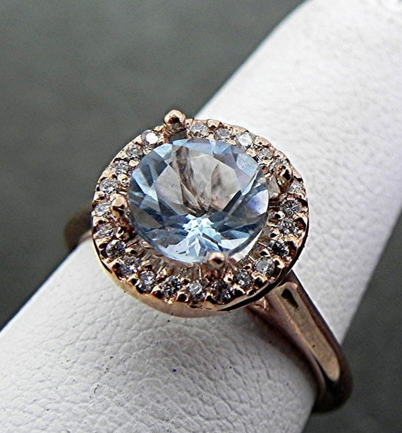 7.00mm  1.06 Carat AAA Aquamarine 14K rose gold Diamond ring (.20carats) 1003