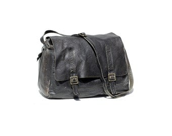Men's Soft Black Leather Briefcase Bag