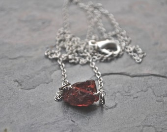 Raw Garnet Necklace Gemstone Jewelry January Birthstone