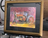 "Tractor Painting Original Watercolor Art ""Rusty Tractor"" Not A Print 22.5 x 18.5"" Framed and Matted"