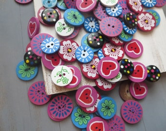 destash buttons mix  35 buttons painted coconut flower heart  pink red blue  from indonesia - 35 pcs Destash 65 to 80 percent off