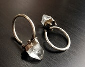 Crystal Hoops - Mini Apophyllite Crystal Pyramid Ear Weights - Sterling Silver Hand-forged Hoop Weights - For Stretched Ears - 10 g
