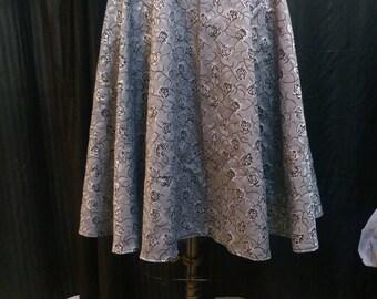 Rose Jacquard Circle Skirt Elastic Waist