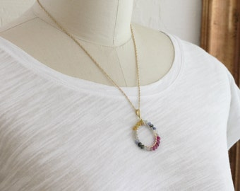 Precious Sapphire Necklace Multi Color Sapphires Precious Gemstone Necklace Genuine Sapphire Jewelry GEM-N-103-Multi.g