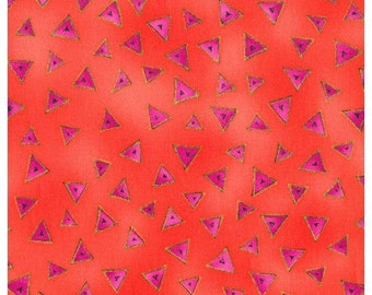 Laurel Burch Basic Coral Triangles with Gold Fabric 1 Yard