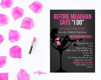 Before She Says I Do  //  Bridal Shower Bachelorette Party Invitation - Customizable and PRINTABLE