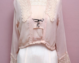 Antique 1900s Victoria Era Sheer Cream Cropped Bib Blouse // Lace up ROMANTIC Bohemian Peasant Button up Crop Top