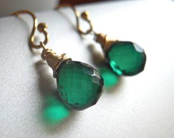 Deep Emerald Teenie Earrings, Sterling or gold filled, ball or lever back earring, Green quartz, Emerald Quartz