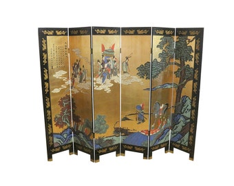 1920s Asian Folding Screen, Double Sided, Solid Wood