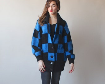 SALE 50% OFF oversize mohair cardigan / blue black checker jumper / slouchy jumper / 1980s / xs-large