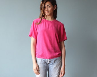 silk blouse / hot pink silk top / silk tee / 1980s / small