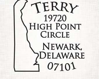 Delaware Personalized Return Address State Stamp