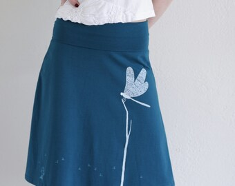 Beutiful Skirts for Women, Pull on a-line skirt, Cotton knee length skirt, Midi graphic skirt, Womens cute skirts - Catching the Dragonfly