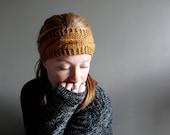 womens knit headband in HONEY - cabled headband - earwarmer - vegan friendly