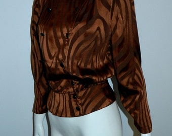 vintage 1980s tiger stripe shirt / copper Louis Feraud silk blouse / peplum top XS / S
