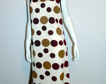 vintage 1960s MOD mini dress / R & K polka dot shift dress / brown circles S - M