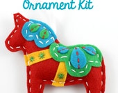 Felt Dala Horse Ornament Hand Sewing Kit