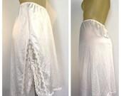 White Half Slip, Vintage Lingerie, Side Slit Slip, Vintage Slip, XXL, White Lace Slip, plus size lingerie, short slip, Leg peek slip pin up
