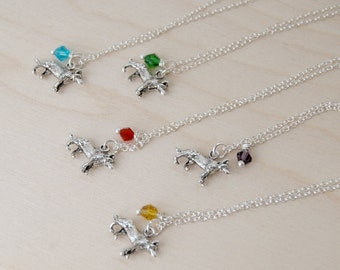 BFF Necklace - Wolf Necklace - Best Friend Birthstone Necklace -ONE Necklace-