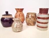 vintage pottery vessels - handmade mini ceramic studio pot vase - set of 5