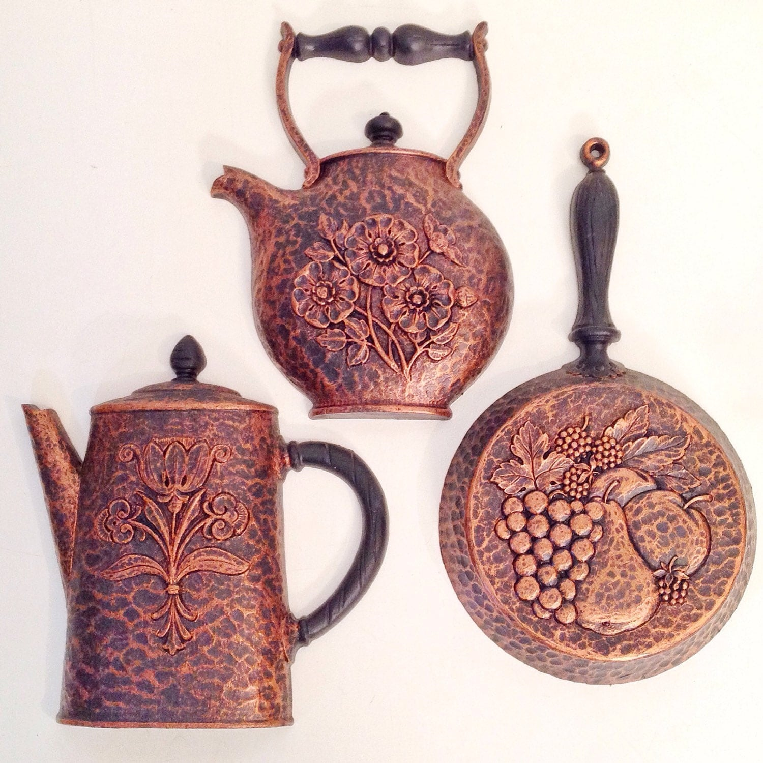 Vintage Wall Decor Faux Copper Teapot Kitchen By Ninedoorsvintage