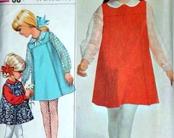 Simplicity 7275 Vintage 60's Designer Fashion Sewing Pattern, Girls' Jumper And Blouse, Size 12, 30 Breast, Uncut Factory Folded