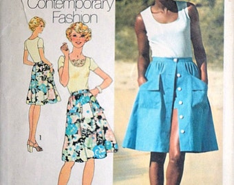 Simplicity 6968 Vintage 70's Sewing Pattern, Misses' Top, Skirt & Shorts, Size 14, 36 Bust, Young Contemporary Fashion