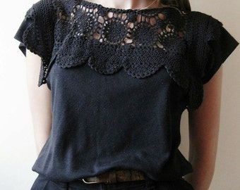 Vintage 90s Black Cotton Crochet Lace Shirt Blouse Top Size S-M