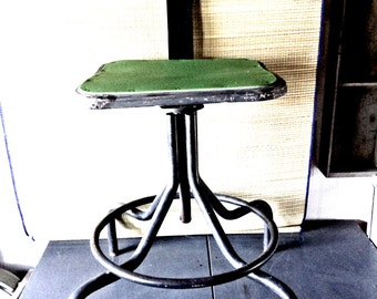 Vintage Industrial Metal Factory Stool with Back Rest