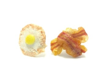 Egg and Bacon Stud Earrings