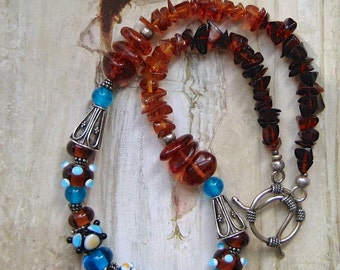 Amber Glass Bead Necklace, Amber Blue Necklace, Lampwork Glass Beaded Jewelry, Necklace Blue, Lampwork Jewelry, Amber Bead Necklace