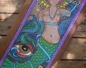 Goddess of The Sea,  Singleton Hippie Art, Mermaid Painting, Nude Mermaid, Third eye, evil eye, all seeing eye, Hippie Mermaid, Peace sign