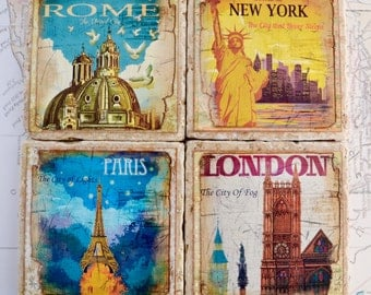 Travertine Tile Coaster Set  Great Cities