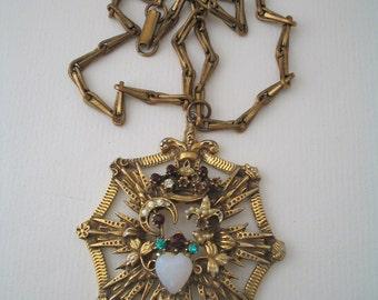 Vintage pendant with chain Crown Heart Moon Fleur de lis Rhinestones Faux pearls