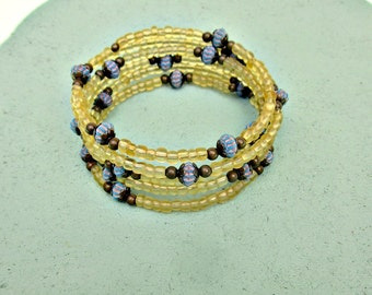 Beaded Yellow and Blue Memory Wire Wrap Bangle Bracelet with Rustic Brass Accents: Juillet