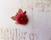 Raspberry Pink Taupe Millinery Flower Brooch ~Velveteen Chenille Rosette pin, glass beaded stamens, velvet wedding accessory Victorian trim