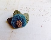 Copen Blue Gold Moss Millinery Flower Brooch ~Velveteen Chenille Rosette pin, glass beaded stamens, velvet wedding accessory Victorian trim
