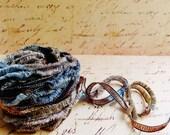 Malt Slate Pebble brown grey Gemini Fringe Ribbon Garland ~Novelty trim Scrapbooking wedding favor craft, holiday gift wrap mixed fiber art