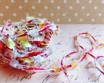 Fruit Salad multicolor Confetti Twist novelty ribbon- fiber art european specialty trim scrapbook embellishment gift wrap supply