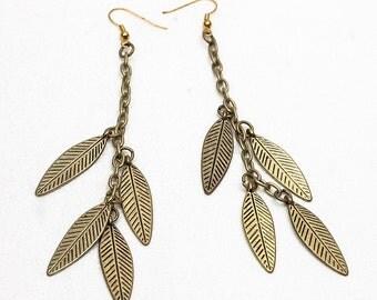 Bronze Dangle Leaf  Boho Hippie Earrings