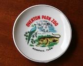 MIDTOWN Is MEMPHIS: Vintage Overton Park Zoo (Memphis, TN) Collectible Porcelain Plate, Tourist Souvenir // Tiger, Peacock, and Polar Bears