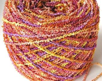 Hand Dyed Rayon Boucle Yarn 7.1 oz- Sunset Shimmer
