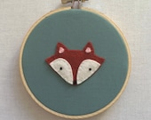 Fox - Hand Embroidered Wall Art