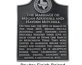 "Your Historical Marker 11"" x 14"" With Your Choice of State Seal Custom for you Made in the USA"