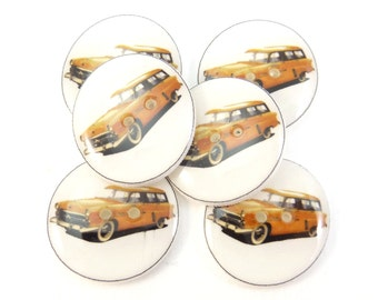 "6 Vintage Yellow Station Wagon Car Buttons.  Handmade Buttons.  3/4"" or 20 mm.Vintage Image."
