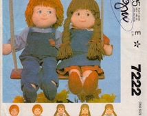 McCalls 7222 1980s  Boy and Girl Rag Doll and Doll Clothes Pattern 22 Inch Soft Doll Vintage Sewing Pattern Uncut