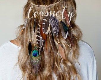 BOHO chic FESTIVAL FEATHER headband /hippie style / braided stretch band/ peacock/ can be worn as a necklace