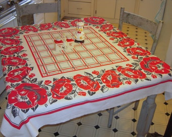 Vintage Tablecloth Red & Black Poppies