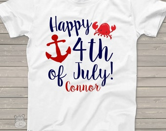 fourth of july 4th july anchor crab personalized shirt - red white blue july 4th shirt