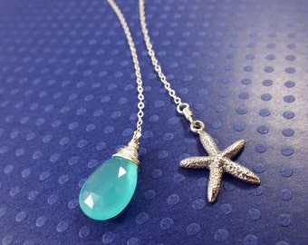 Starfish necklace, Bridesmaid gift, Bridesmaid necklace for beach wedding, destination wedding, Lariat necklace, Aqua necklace, Y necklace